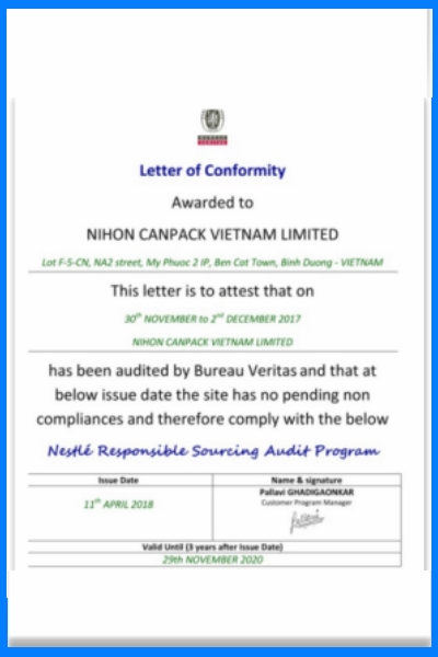Certificate of  Bureau Veritas  about compliances