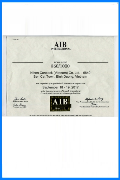 Certificate of AIB International